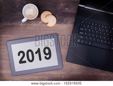 Tablet Touch Computer Gadget On Wooden Table - 2019