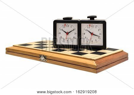 Chess boards and chess clocks. Isolated white background.