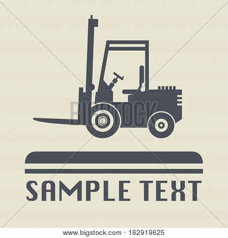 Fork lift truck icon or sign vector illustration
