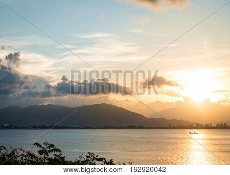 Sea landscape at evening on the Vinpearl beach. View of Nha Trang, Vietnam. Sunset.