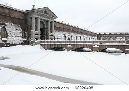 St. Petersburg, Russia - 2 December, Architecture Petro Paul Fortress, 2 December, 2016. Land and building the Peter-Paul fortress.