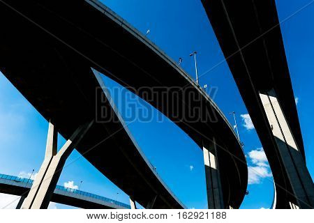 Silhouette Of Highway Ramps On A Sunny Day