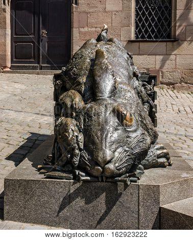 Nuremberg, Germany - May 10, 2016: Rabbit sculpture - Tribute to Albrecht Durer