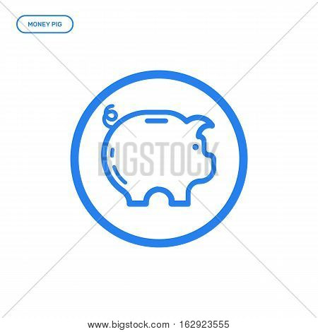 Vector illustration of flat bold line pig icon. Graphic design concept of money box. Use in Web Project and Applications. Blue outline isolated object.