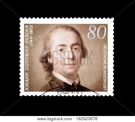 GERMANY - CIRCA 1994 : Cancelled postage stamp printed by Germany, that shows Johann Gotfried Herder.