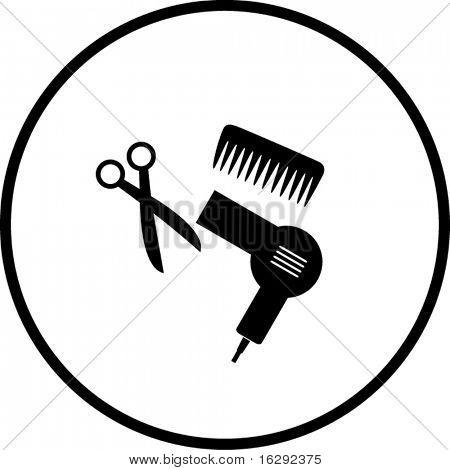 haircut or hair salon symbol 2 poster