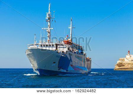 Santa Teresa Di Gallura Bonifacio. Ferry Ship