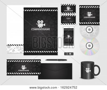 Black corporate identity template for producer. Cards for movie, film maker, producer. Vector company style for brandbook and guideline