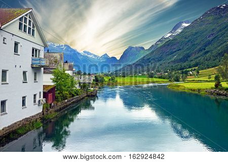 Norway - rural mountain landscape, village Olden