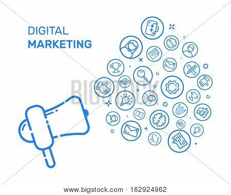 Vector illustration with blue icons and megaphone in flat line style. Design concept for digital marketing, social campaign, engaging, blogging Use in Web Project and Applications. Outline objects.