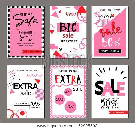 Set of social media sale website and mobile banner templates. Vector banners posters flyers email newsletter ads promotional material. Typography discount card design.