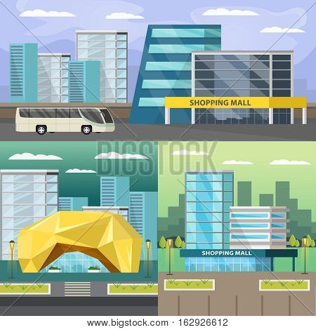 Set of orthogonal compositions with shopping mall and road infrastructure on cityscape background isolated vector illustration