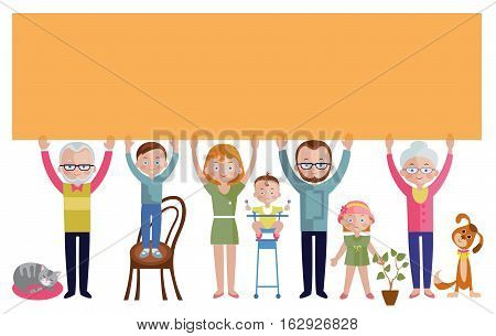 Family with empty orange banner flat design including adults and children houseplant and pets vector illustration