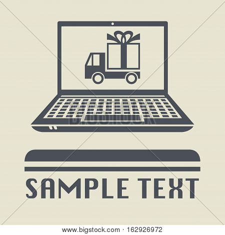 Laptop or notebook computer with gift transportation icon or sign vector illustration