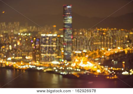 Blurred lights HongKong city downtown abstract background