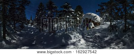 360 Panorama Chalets And Snowboard In Winter Forest Under A Starry Sky