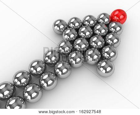 Illustration of leader leads the team forward. 3d render