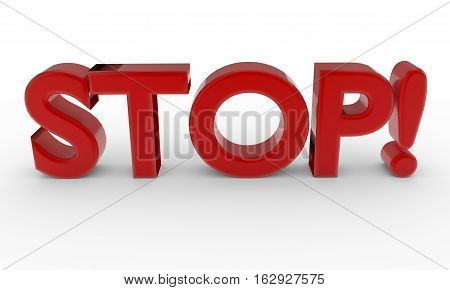 red word STOP isolated on white background. 3d render