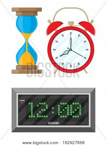 Clocks set. hourglass, analog and digital clock. vector illustration in flat style
