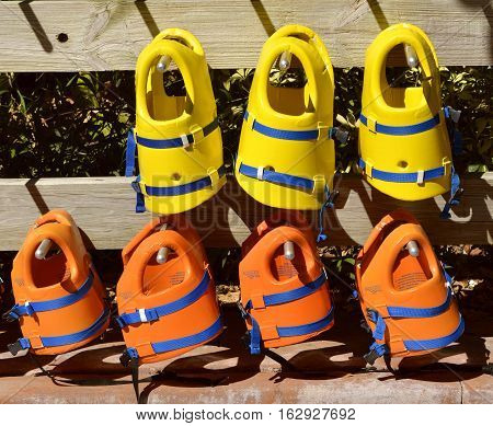 Aquatica water park Orlando Florida USA - October 23 2016: Life jackets for use in the adventure play area in Aquatica water park