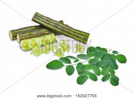 Moringa pod and leaves isolate on white background