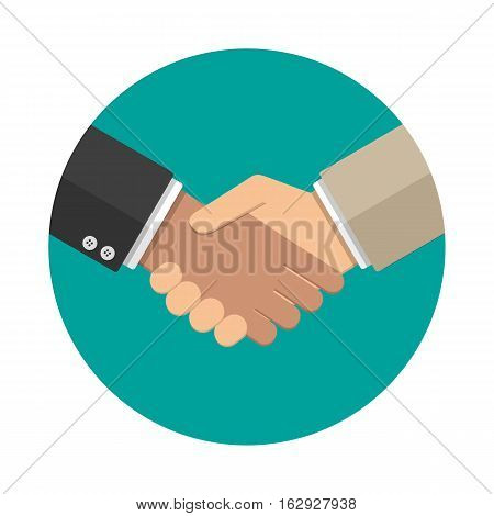 Businessmans handshake icon. vector illustration in flat design at grey background. shaking hands. successful transaction