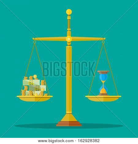 Scale weighing money and hourglass clocks. time is money, financial concept. vector illustration in flat design
