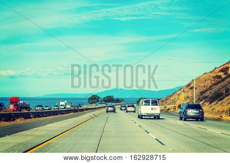 clear sky over Pacific Coast Highway California