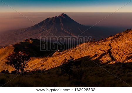 Mount Merbabu In Darkness