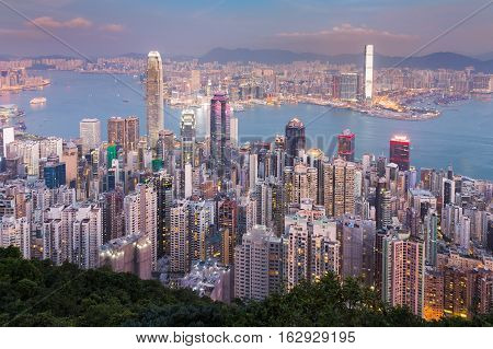 Aerial view Hong Kong city central business downtown over Victoria Bay