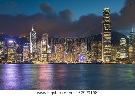 Night lights, Hong Kong city central business area over Victoria point