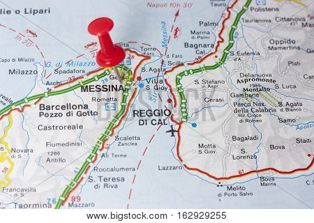 Closeup of Messina Italy On A Map