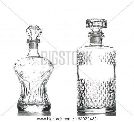 Liquor Decanter Made Of Glass Isolated On White Background,crystal Decanter