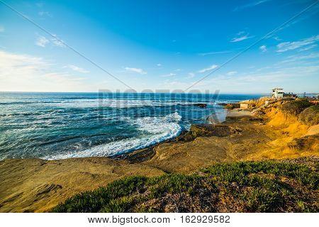 La Jolla shoreline at sunset in California