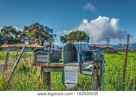 some old mailboxes in California in USA