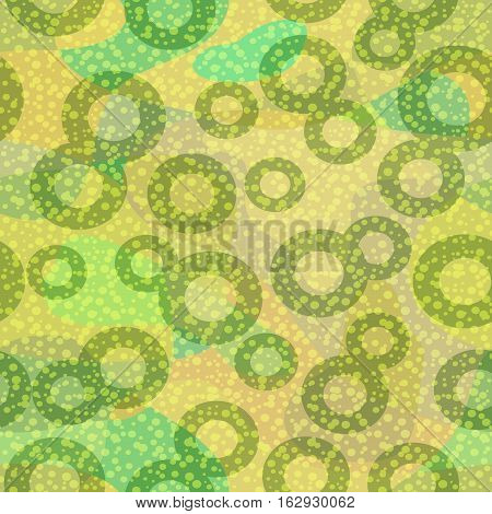 Abstract Seamless Background, Tile Pattern with Green Round Rings. Vector Eps10, Contains Transparencies