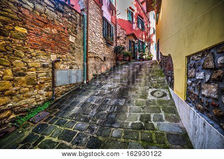 a narrow backstreet in Montecatini in Italy