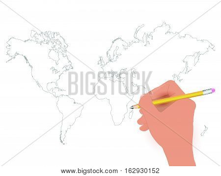 Illustration of a world map pencil sketch on a white background