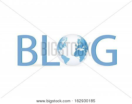 Illustration of a globe with the word blog isolated on a white background.