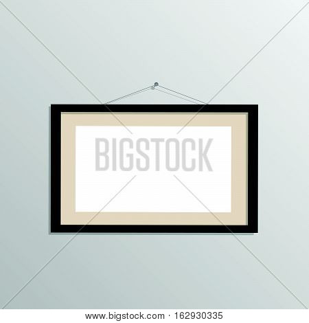 Illustration of a hanging picture frame isolated on a gray background.