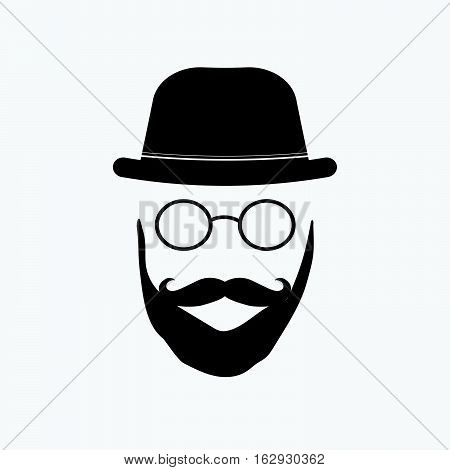 Hipster glasses illustration on a white background