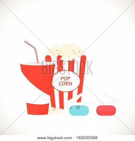 Movie illustration with popcorn drink and 3d glasses