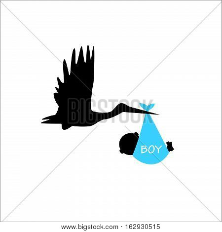 An illustration of a baby boy announcement