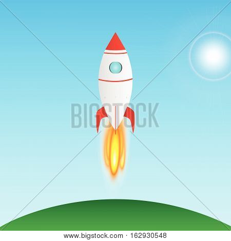 A colorful Illustration of a rocket taking off
