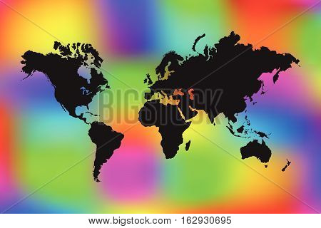 World map illustration on a colorful rainbow background