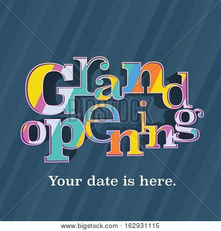 Grand opening vector banner illustration flyer poster. Template design element with letters for opening ceremony shop store startup
