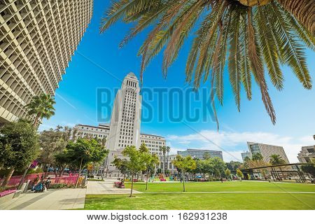 LOS ANGELES CALIFORNIA - OCTOBER 27 2016: Grand park in downtown Los Angeles