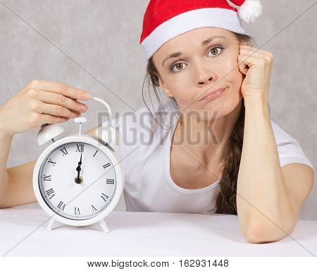 Young Woman In Santas Hat