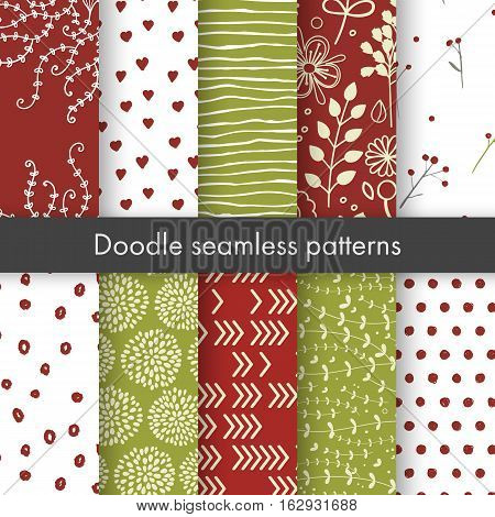 Set of vector spring patterns with flowers, doodle pattern, branches, leaves, dots, hearts. White, red, green colors. Seamless pattern is in the swatches palette.