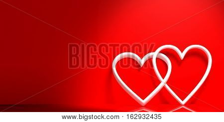 3D Rendering Joined Hearts On Red Background